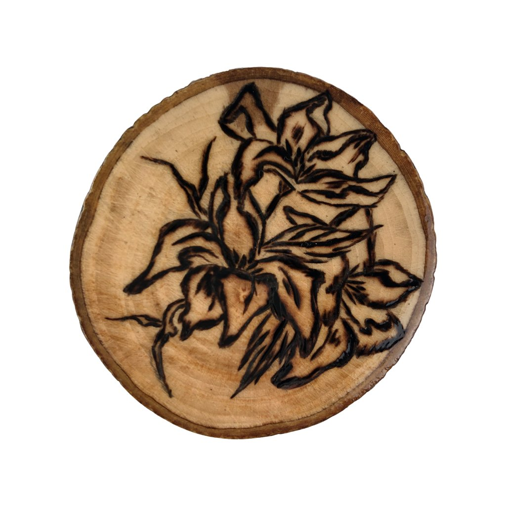 Dřevěná brož Oleandr