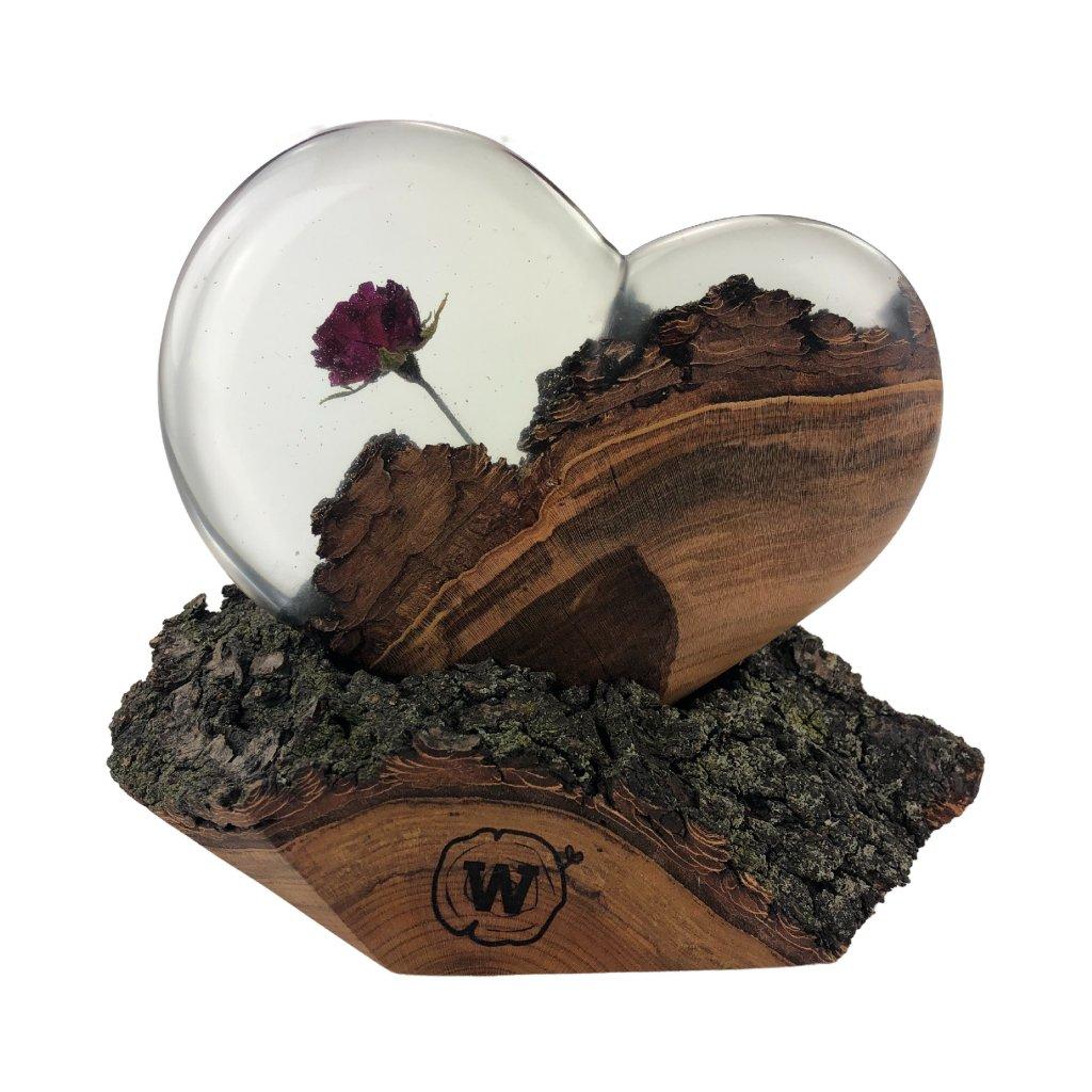 Dřevěná dekorace Rose in heart