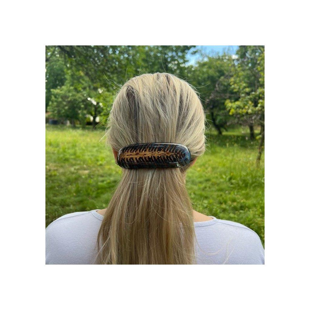 Dřevěná spona do vlasů Blue