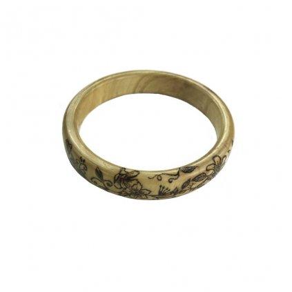 Dámský dřevěný náramek 2 cm Flores, jasan