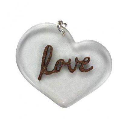 Dřevěný přívěšek na krk Love