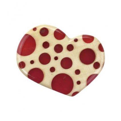 Dřevěný přívěšek na krk Heart, červený