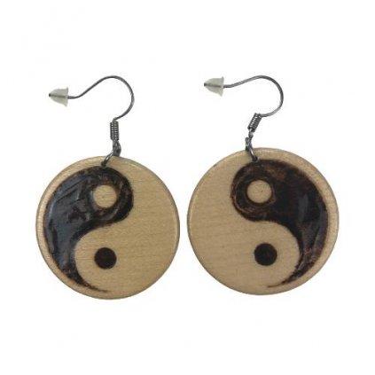 Dřevěné náušnice Jin a Jang