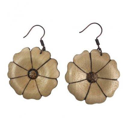 Dřevěné náušnice Flower