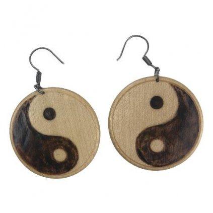 Dřevěné náušnice Yin and Yang