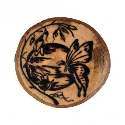 Dřevěná brož Butterfly