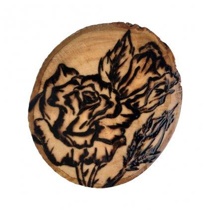 Dřevěná brož Roses