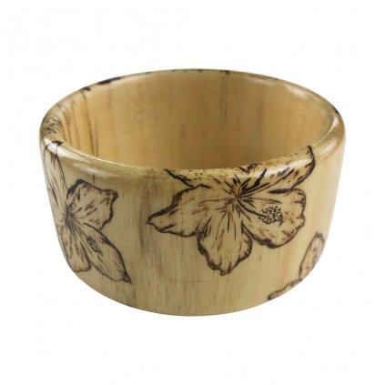 Dámský dřevěný náramek 4 cm Flower , jasan