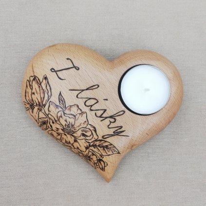 Dřevěný svícen Libea