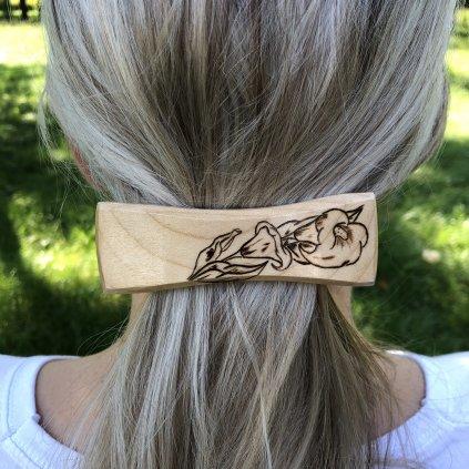 Dřevěná spona do vlasů Beckett