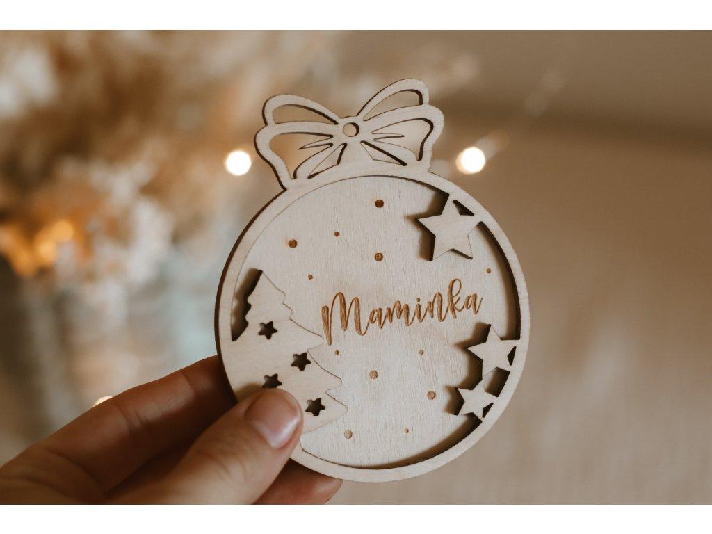 Dřevěná Vánoční ozdoba se jménem