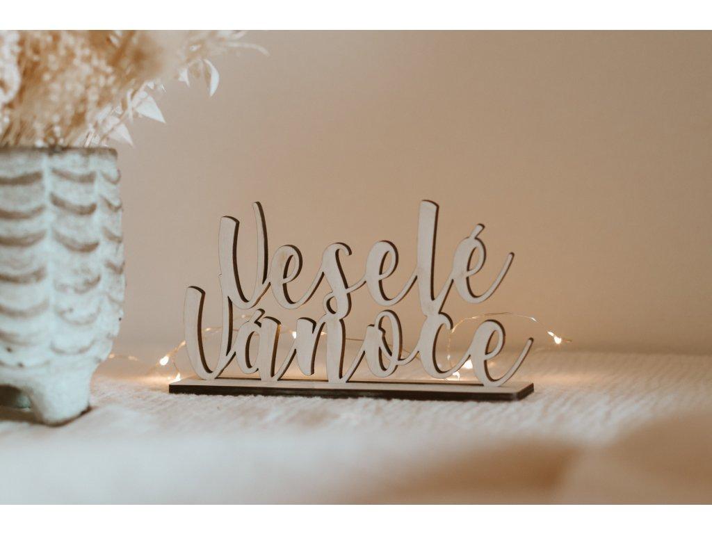 Dřevěný nápis Veselé Vánoce
