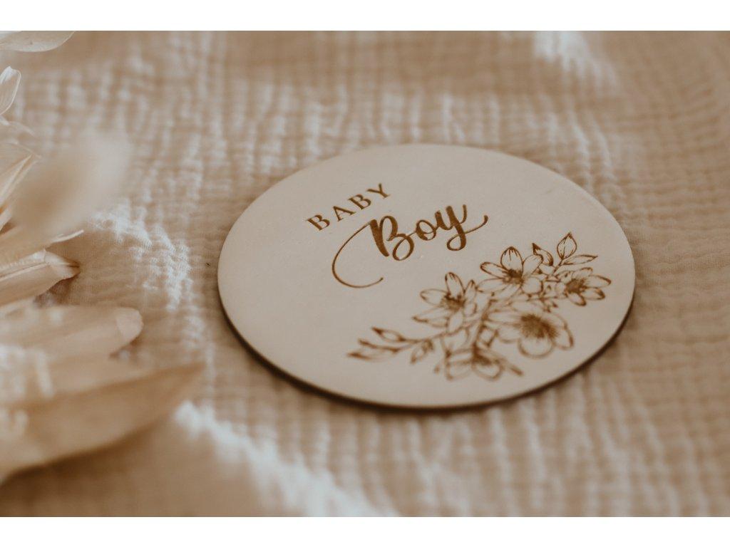 Dřevěný milníček - Baby Boy