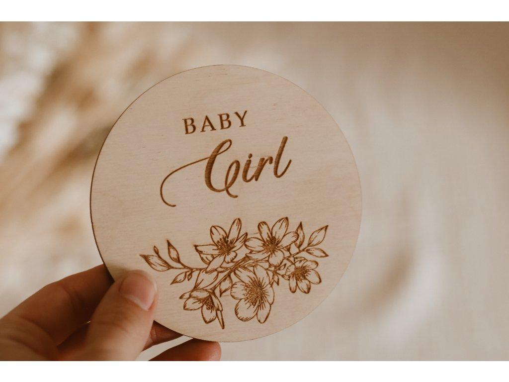 Dřevěný milníček - Baby Girl