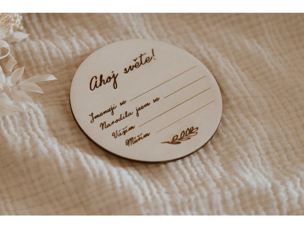Dřevěný milníček - Ahoj světe!