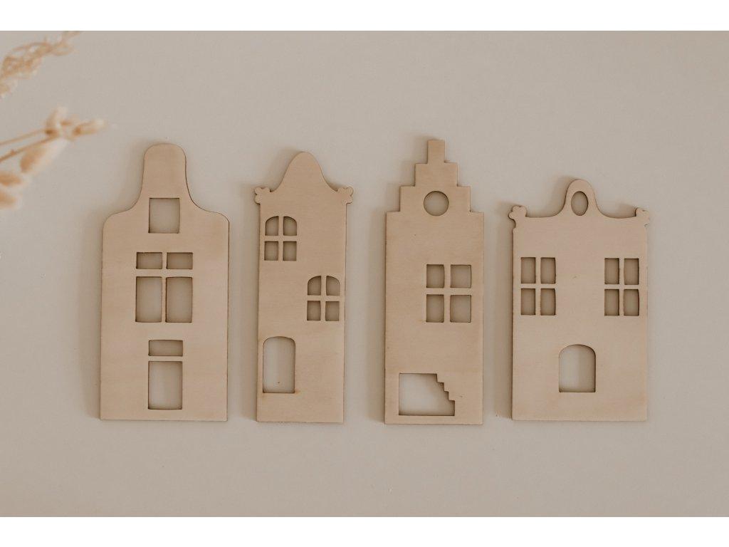 Dřevěná dekorace - Domky