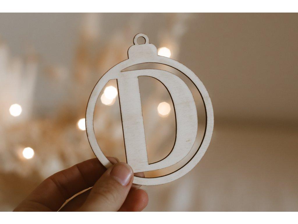 Dřevěná Vánoční ozdoba - Koulička s písmenem