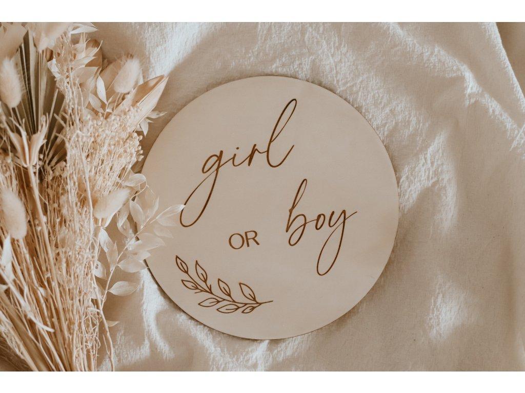 Dřevěný milník - girl or boy