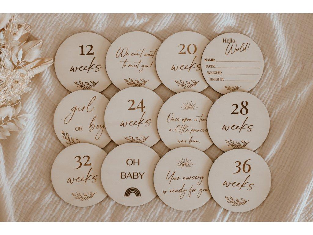 Set dřevěných milníků pro chvíle těhotenství