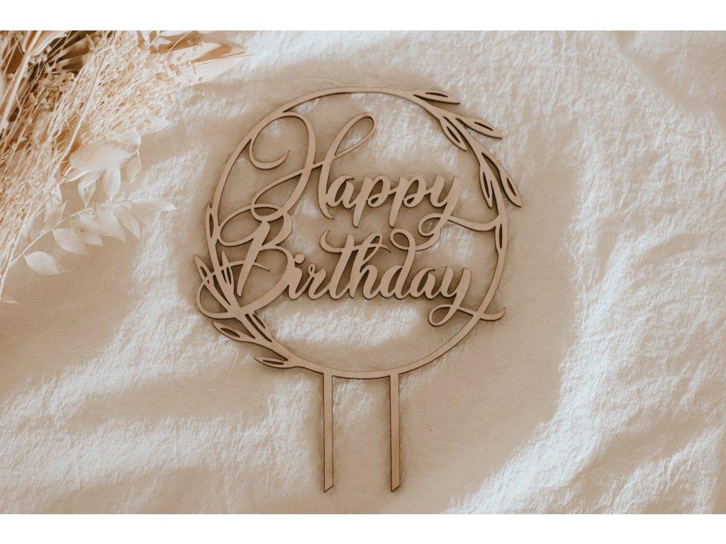 Dřevěný kulatý zápich - Happy Birthday