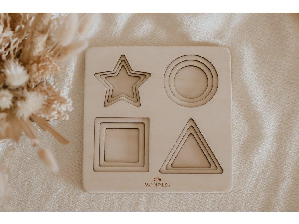 Dřevěné Montessori Puzzle - Tvary