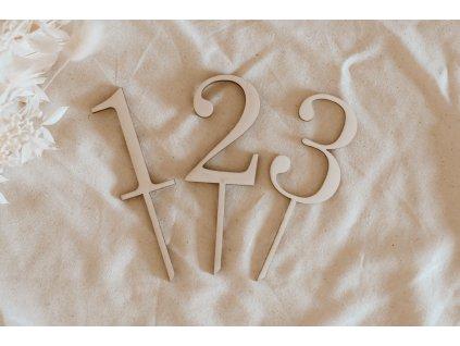 Dřevěný zápich - Číslo do dortu