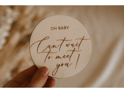 Dřevěný milníček pro těhotné - Can´t wait to meet you