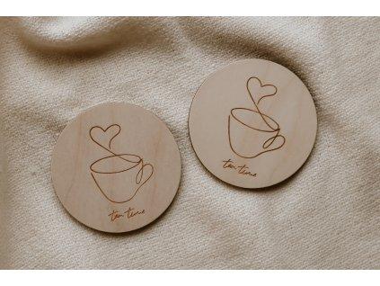 Dřevěný podtácek - Tea time 2 kusy