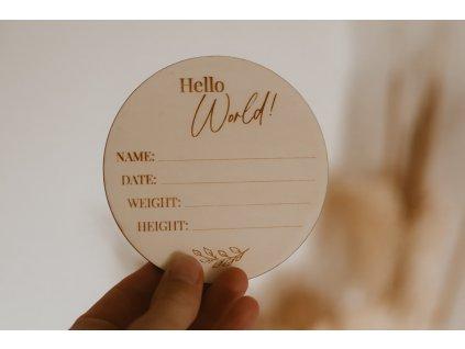Dřevěný milník k narození miminka - Hello World