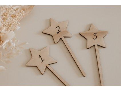 Dřevěný zápich - Hvězdička s číslem