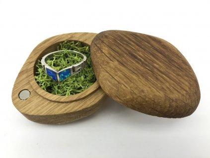dřevěná krabička na snubní prsten oko