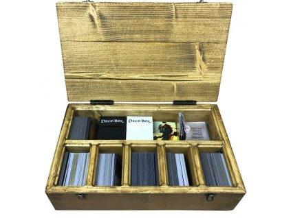 velký dřevěný box na karetní hry