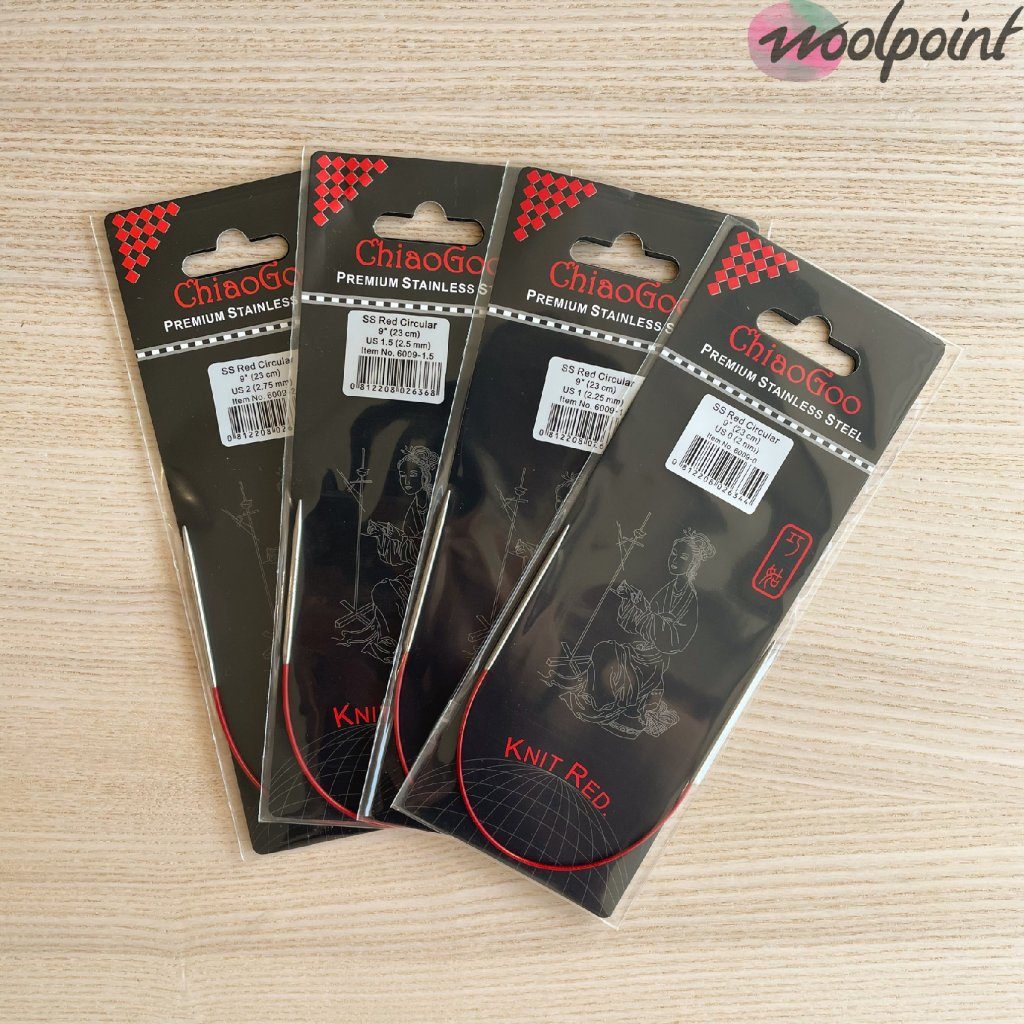 Pevné kruhové jehlice Chiaogoo Knit Red 23 cm
