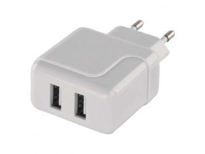 Duální USB adaptér do sítě + micro USB kabel + USB-C redukce  V0119