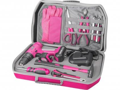 vrtací šroubovák aku s příklepem, růžový, 12V Li-ion, 2000mAh, v kufru s nářadím, sada 27ks  402403