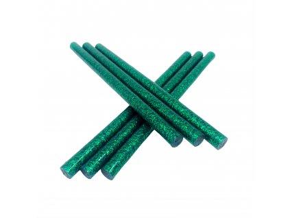 Tavné lepidlo barevné tyčinky GLITTER zelená