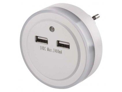 LED noční světlo P3313 do zásuvky s 2× USB  P3313