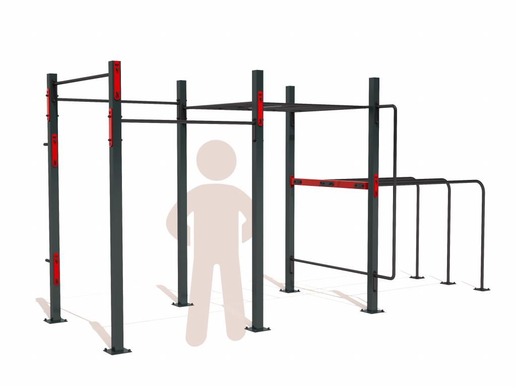 Venkovní workoutové hřiště SMALL BASIC na zahradu. Workout kostka obsahuje základní prvky pro cvičení s vlastním tělem - hrazdy, bradla, žebřík monkey bar, další prvky je možné zakoupit zvlášť. Vhodné pro celou rodinu - děti, mládež i dospělé.