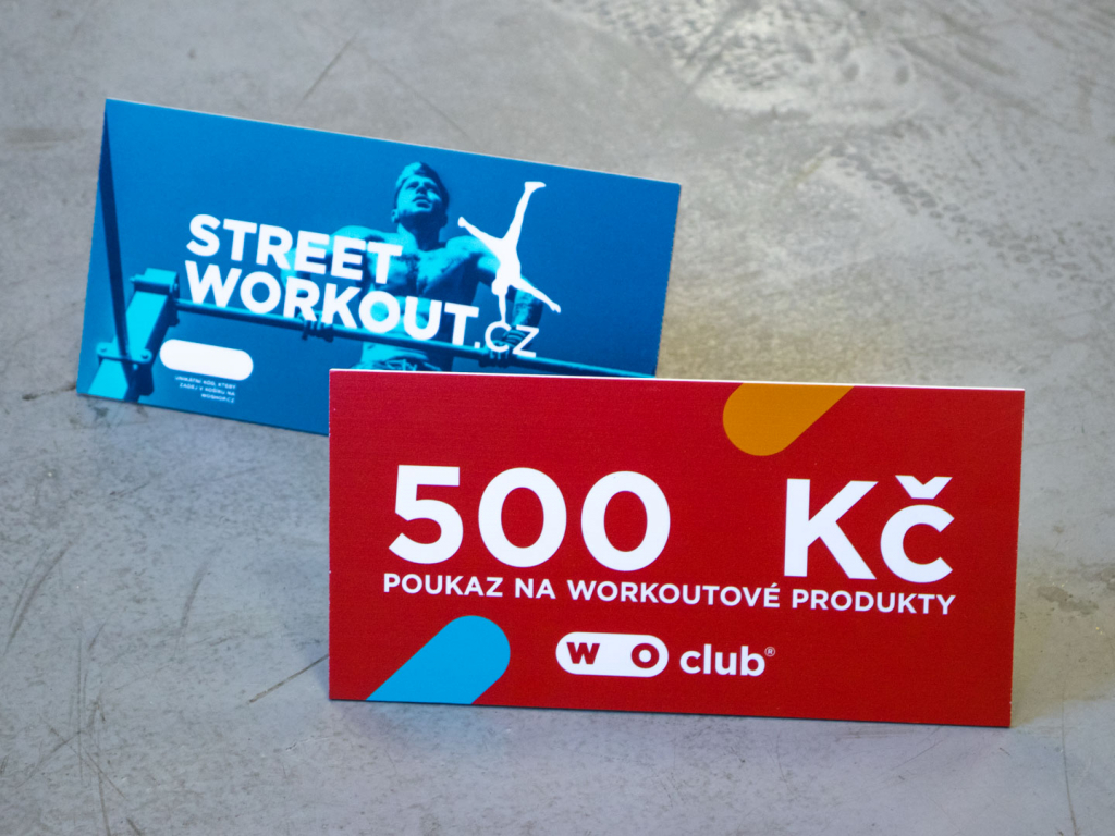 Fyzický poukaz WOUCHER na nákup workoutového zboží na WOshop.cz v hodnotě 500 Kč