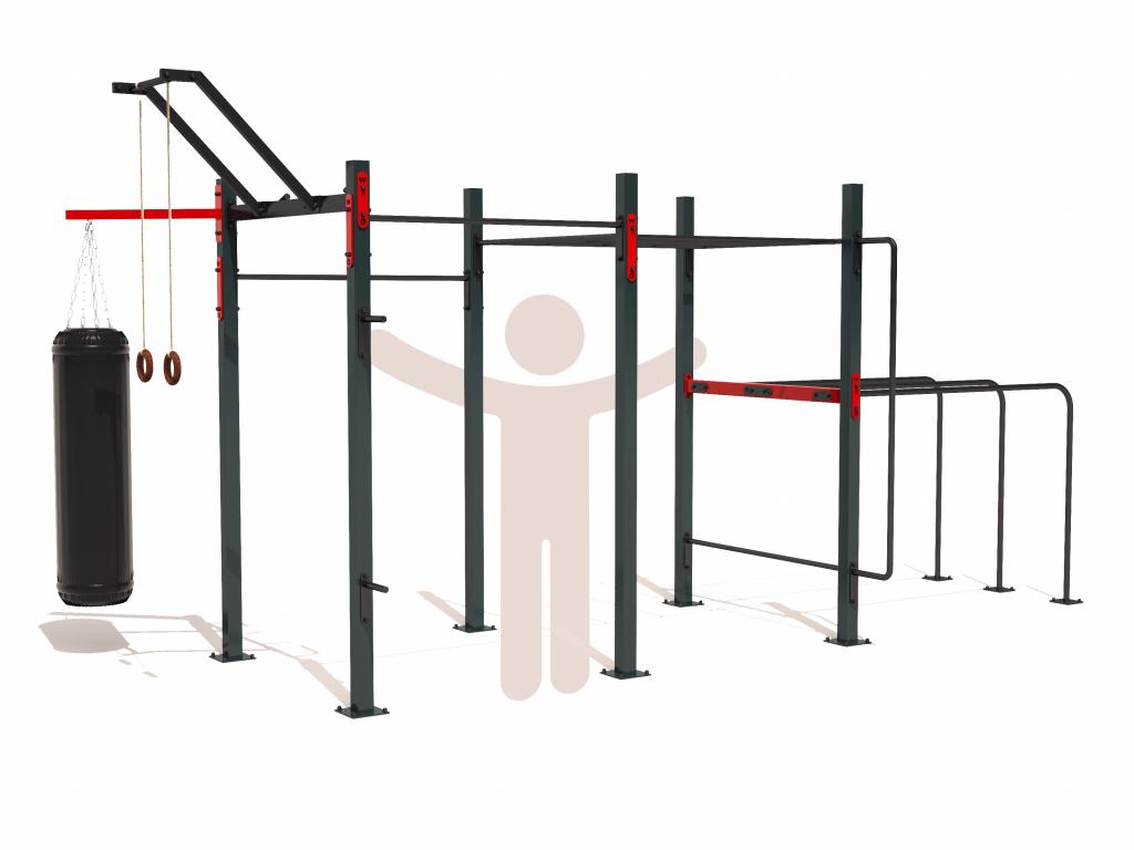 Plně vybavené venkovní workoutové hřiště SMALL FULL light na zahradu. Workout kostka obsahuje všechny potřebné prvky pro cvičení s vlastním tělem - hrazdy, bradla, žebřík monkey bar, multibar s různými úchopy hrazdy, ring holder jako držák kruhů, konzoli na boxovací pytel a další prvky. Vhodné pro celou rodinu - děti, mládež i dospělé.