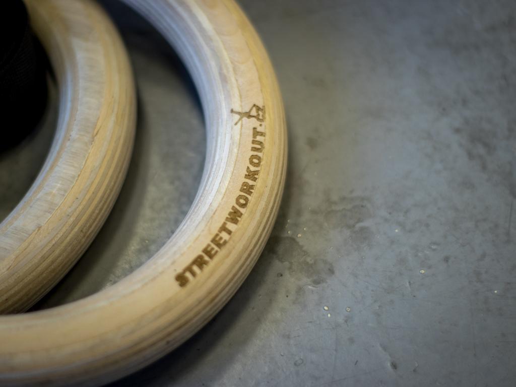 Dřevěné gymnastické kruhy workout crossfit - gymnastics rings wooden