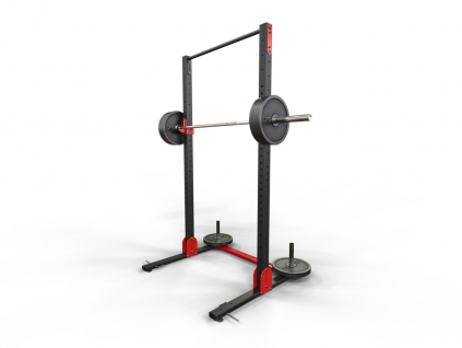 Silová hrazda a držák činky v jednom WOCLUB POWER STAND FULL s doplňky na funkční trénink s vlastní vahou i silový s olympijskou osou.