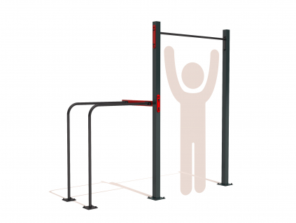 Venkovní workout sestava s hrazdou s bradly GARDEN WORKOUT SINGLE pull up bar na zahradu