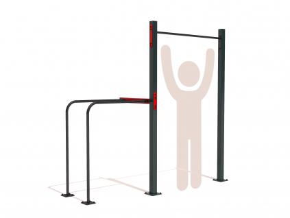 Venkovní workoutová sestava s vysokou hrazdou a bradly GARDEN WORKOUT SINGLE pro základní cviky s vlastní vahou jako jsou shyby - pull up, dipy - tricepsové kliky. Hrazda pro celou rodinu - děti, mládež i dospělé.