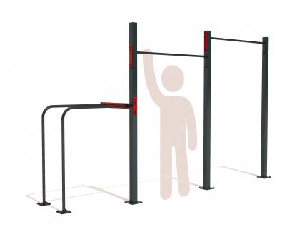 Venkovní workout sestava se dvěma hrazdama a s bradly GARDEN WORKOUT DOUBLE pull up bar na zahradu