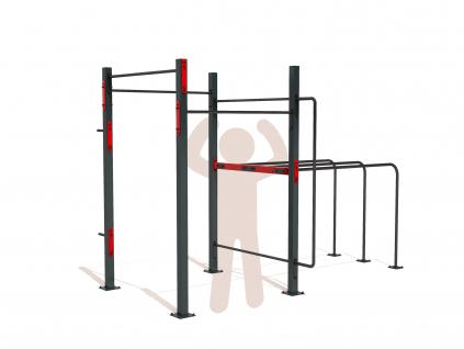 Základní venkovní workoutové hřiště SQUARE BASIC na zahradu. Workout kostka obsahuje nejzákladnější prvky pro cvičení s vlastním tělem - hrazdy, bradla. Další prvky je možné zakoupit zvlášť.