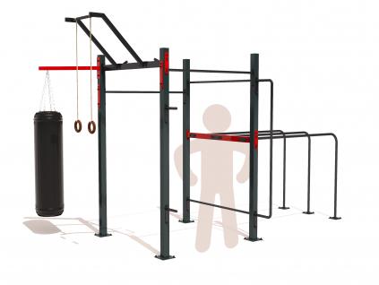 Plně vybavené venkovní workoutové hřiště GARDEN WORKOUT SQUARE FULL na zahradu. Workout kostka obsahuje všechny potřebné prvky pro cvičení s vlastním tělem - hrazdy, bradla, multibar, ring holder, držák na olympíjské osy a další prvky.