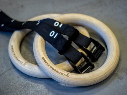 GYM RINGS THICK WOOD hrubé dřevěné gymnastické kruhy s nastavitelným popruhem workout crossfit gymnastics rings wooden