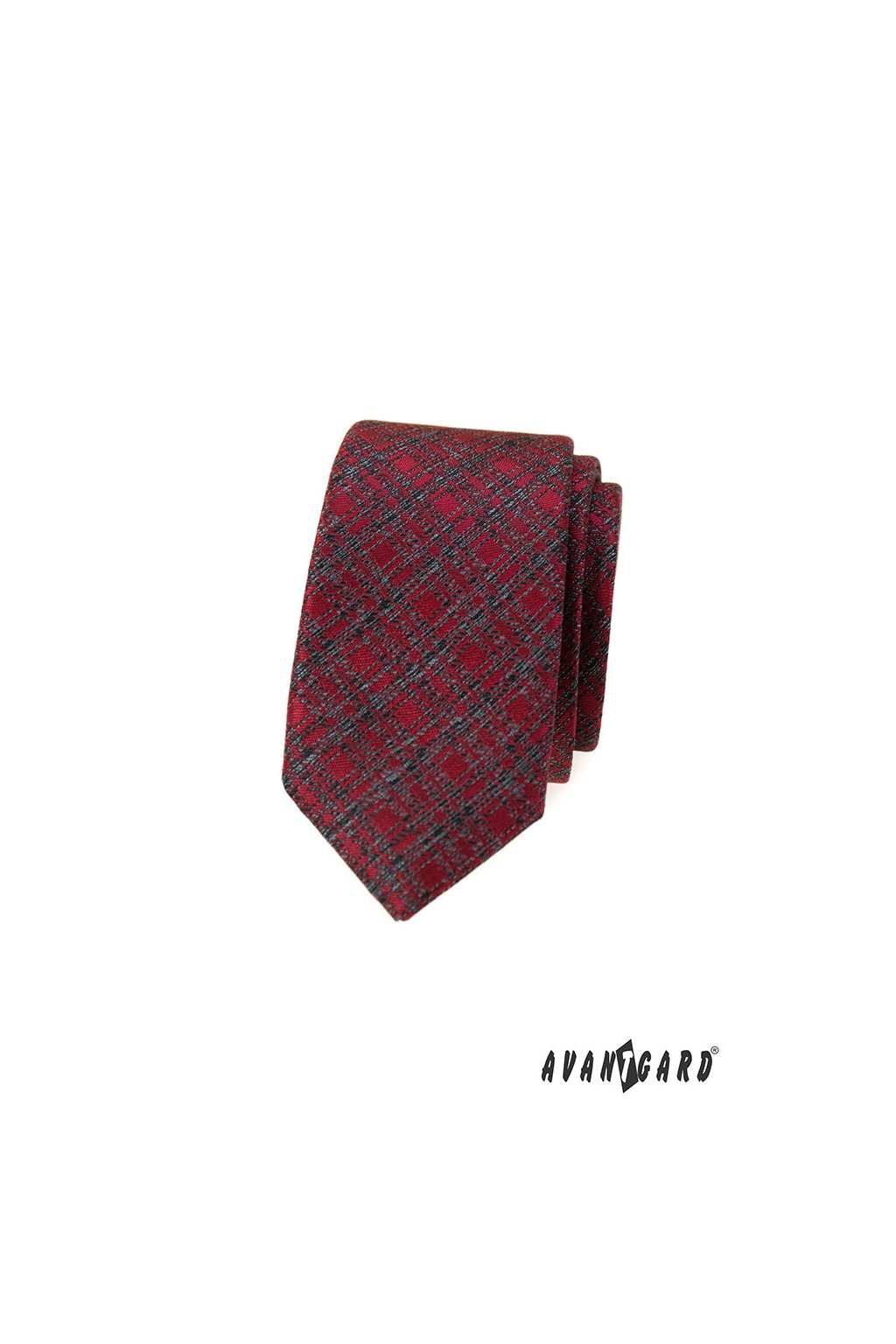 Červená šrafovaná slim kravata