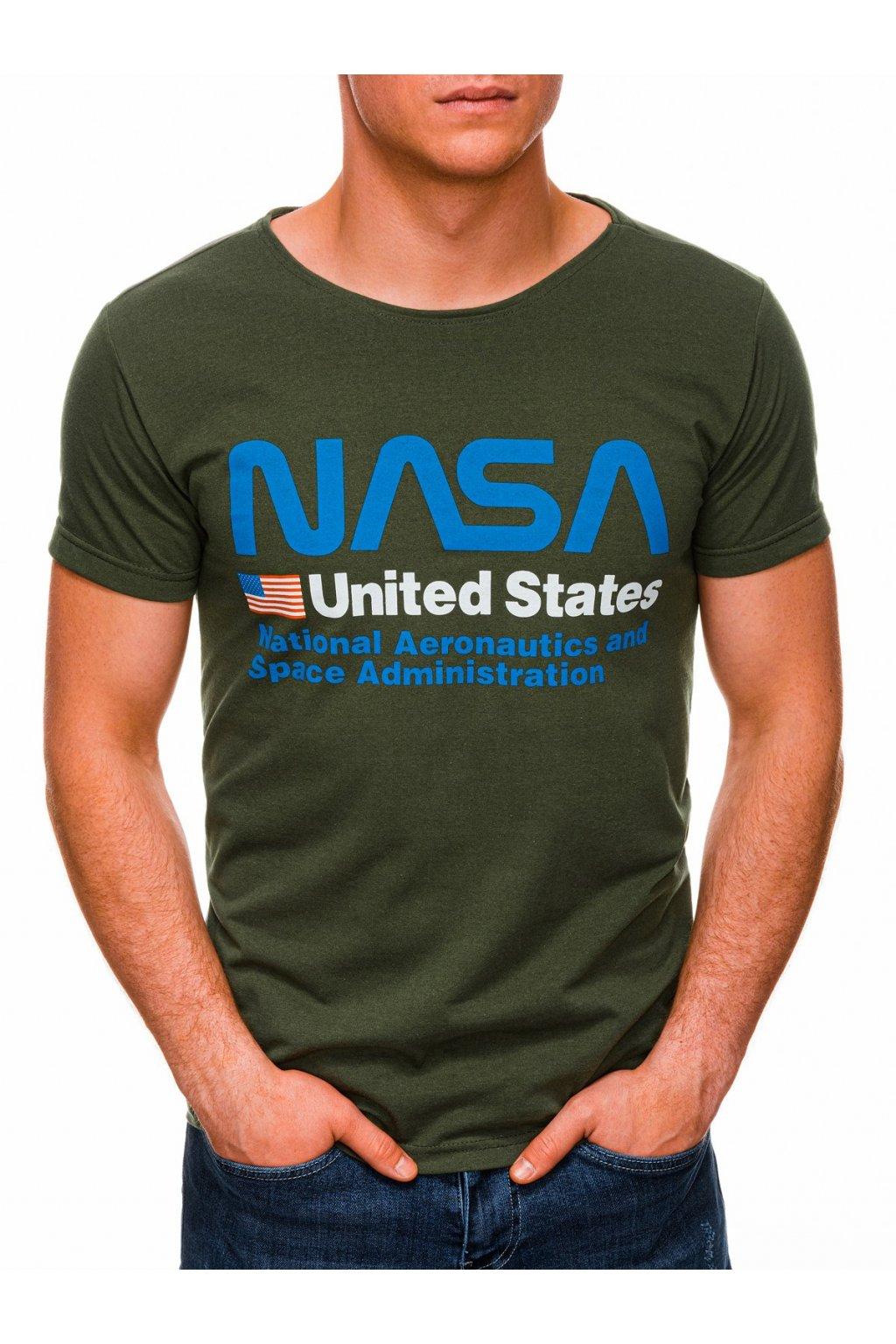 Pánské tričko NASA S1436 - zelená/modrá